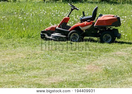 Freshly Cut Grass By Red Lawnmower