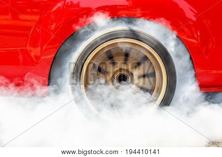 Dragster Car Burn Out Rear Tyre With Smoke.
