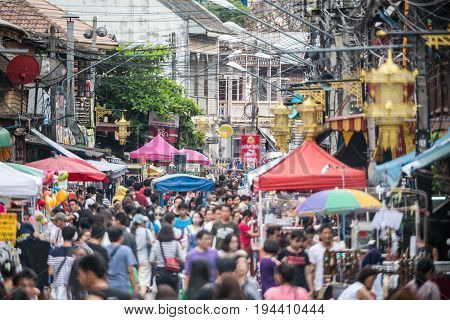 LAMPANG THAILAND -MAY 28 :Kad Kong Ta Street Market .The city center old town building marketing and trading of local tourists come to buy souvenirs.Lots of different foods on May 28 2016 in Lampang Thailand.