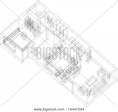 3D house architectural draw