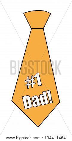 Orange #1 Dad Happy Fathers Day Tie