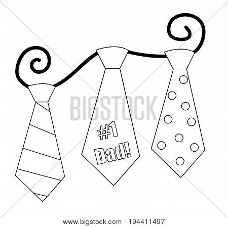 Happy Fathers Day Ties Coloring Page on White Background