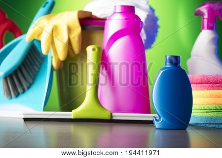 Cleaning theme. Set of different products on the green background.Chemical industry.