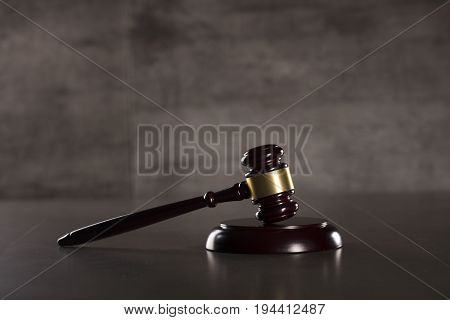 Law concept. Gavel of the judge. Place for logo and text.