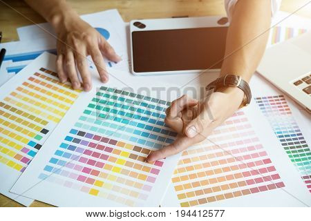 Close Up Hands Male Graphic Designers,interior Designer.working On Graphic Tablet In Modern Space Of