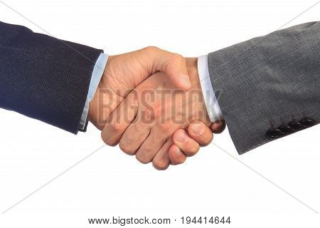Handshake of two businessmen close-up. Handshake isolated on white background. Business deal and  trust concept.