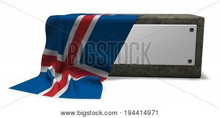 stone socket with blank sign and flag of iceland - 3d rendering
