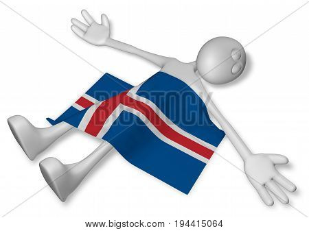 dead cartoon guy and flag of iceland - 3d illustration