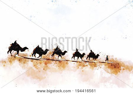 Camels and people walking on sand dune of desert The route called Silk Road in history digital watercolor illustration painting