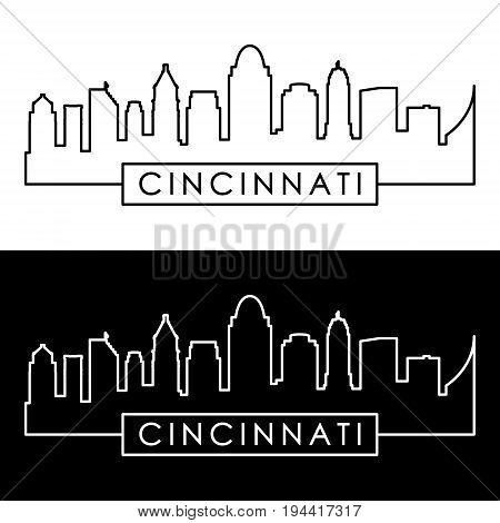 Cincinnati skyline. Linear style. Editable vector file.