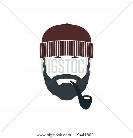Portrait of bearded old sailor with tobacco pipe. Hipster sailor man. Vector illustration.