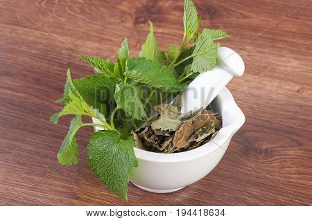 Fresh Green And Dried Lemon Balm In White Glass Mortar, Concept Of Herbalism Or Alternative Medicine