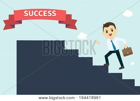 businessman wear white shirt and he run up the silhouette stairs to success red ribbon employee climbs up the stairsvector illustrationbusiness concept growth and the path to success
