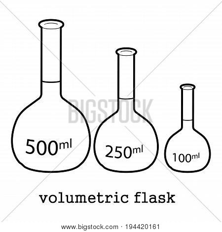 volumetric flask icon in outline style isolated on white background vector illustration