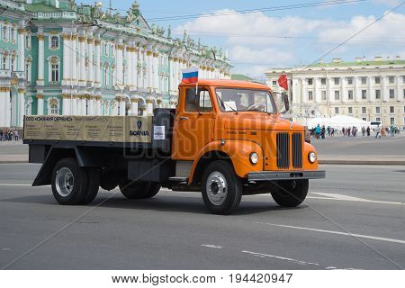 SAINT-PETERSBURG, RUSSIA - MAY 21, 2017: One of the last trucks of the firm