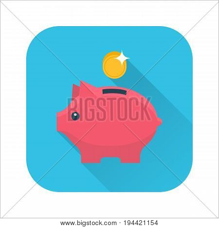 Money box flat icon. Pig piggy bank with coin. Money savings, save money, budget, finance symbol. Internet icon with long shadow in cartoon style. Web and mobile design element. Vector illustration.