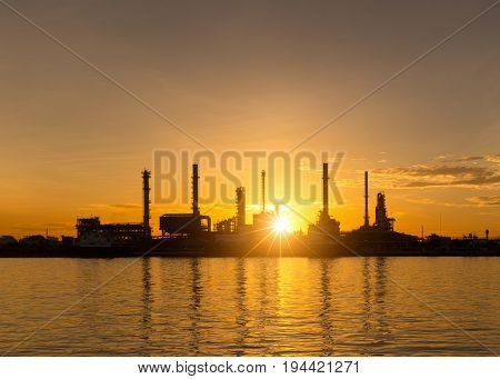 Twilight of oil refinery Oil refinery and Petrochemical plant at dusk Bangkok Thailand