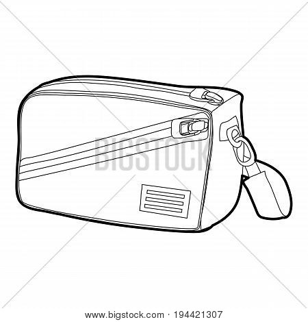 Waist bag icon in outline style isolated on white background vector illustration