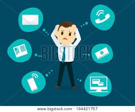 Businessman stress pressure business mental issues concept vector icons with pictogram computermoneynewstelephone calle-mail. Pressure mental and depression