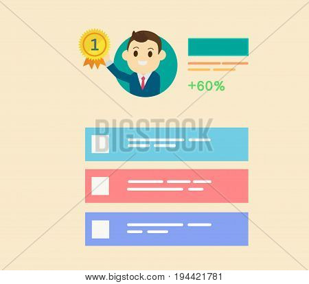 Businessman get reward in number one with profile user interface style.flat design man getting gold medal and color tab profile vector and illustration.