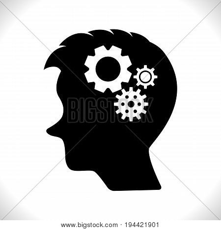Gear in Head Pictograph Isolated on White Background. Mind or Brain Icon Generation of Ideas Symbol