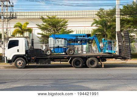 Logistic boom-lifting on heavy truck, Business transportation