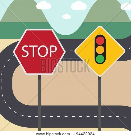 Stop and traffic signs with street country road and sky,mountains background.illustration signs with text.