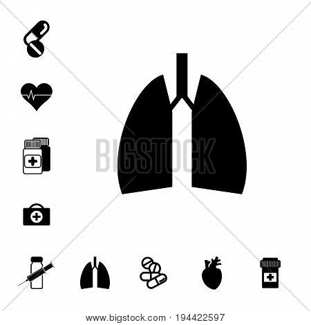 Human Lungs Icon. Pill or DrugSigns Set Isolated. Pharmacy Symbols Collection