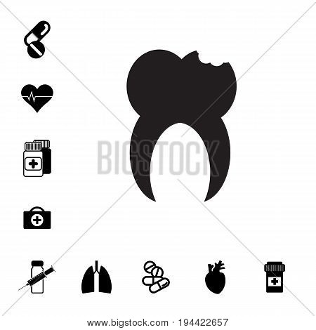 Human Root Tooth Molar and Set of Pill or DrugIcons Isolated. Pharmacy Symbols Collection