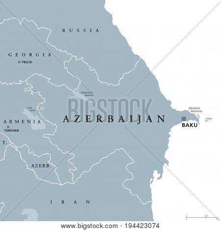 Azerbaijan political map with capital Baku and exclave Nakhchivan. Republic and country and in South Caucasus region, bound by Caspian Sea. Gray illustration over white. English labeling. Vector.
