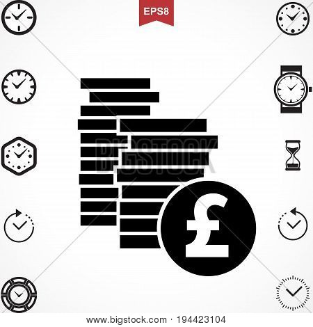 Money Pound Icon or Flat Sign. National UK CurrencySymbol Isolated