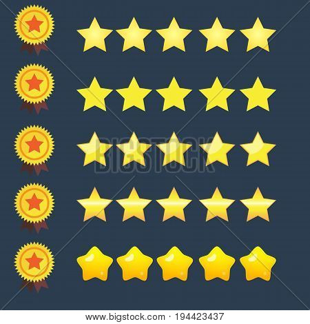 5 stars rating icons set and copper ribbon medal of star vector illustration.Isolated quality rate status level for web or app.