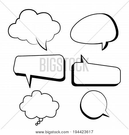 Bubbles text boxes comic set vector with isolated white background.Clouds bubblesshape text box style.