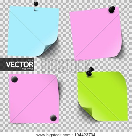 Colored Sticky Papers With Vector Transparency