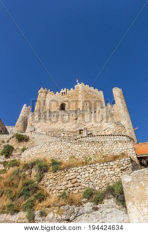 Hilltop Castle Of Historic Village Alcala Del Jucar