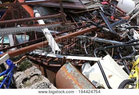 Background Of Rusted Objects In A Dump In Recycler