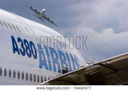 2 Airbus A380 with logo