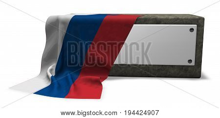 stone socket with blank sign and flag of russia - 3d rendering