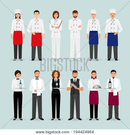 Hotel restaurant male and female team in uniform. Group of catering service characters standing together: chef cook waiters and barman. Welcoming banner. Vector illustration.