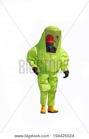 Firefighter With Yellow Protective Suit On White Background