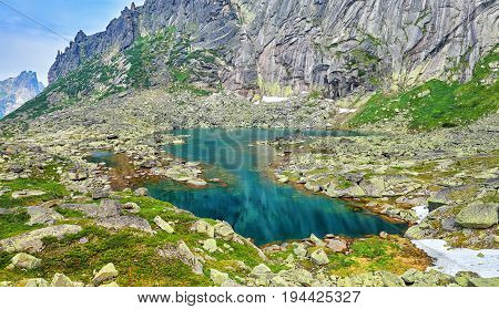 Turquoise Color Of Water Of Glacial Lake