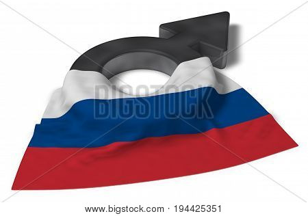 mars symbol and flag of russia - 3d rendering