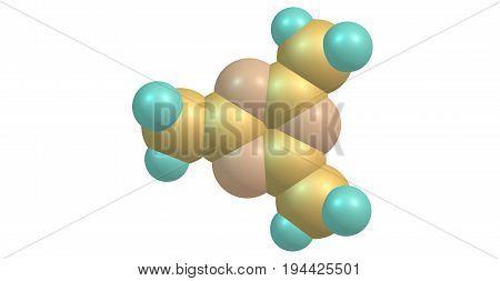 246-Trimethyl-135-triazine is an organic heterocyclic compound with the formula C6H9N3. 3d illustration