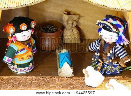 Mongolia Nativity Scene With The Holy Family And The Typical Asi