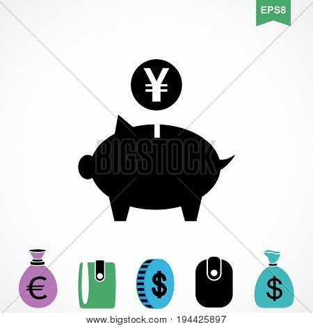 Money Yen Icon or Flat Sign. National Japan CurrencySymbol Isolated. Piggy Bank Pictogram
