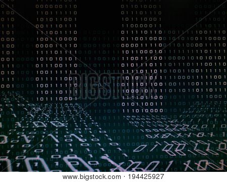 blue green binary code on computer screen. Blue green binary code background for internet, business, connection, technology and modern computer concepts.