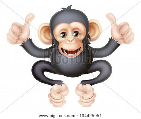 Cartoon chimp monkey like character mascot giving a double thumbs up