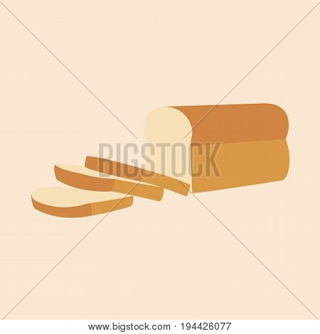 Bread loaf and Sliced isolated background vector