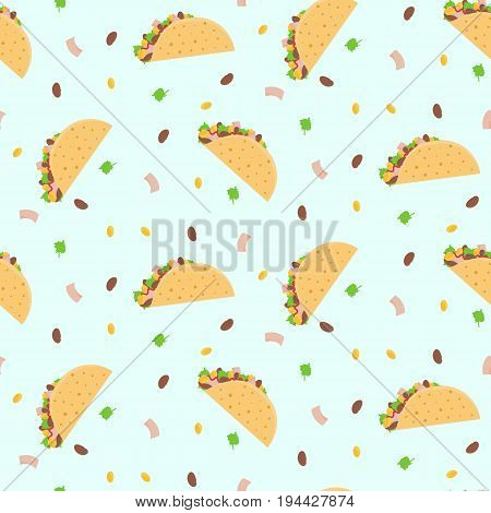 Cute cartoon colorful seamless pattern with mexican tacos corn lettuce and kidney bean. Nice fastfood pattern for textile cafe and restaurant wrapping paper covers banners background wallpaper