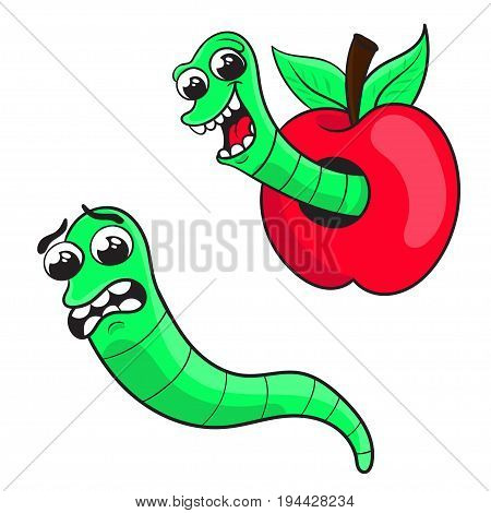 cartoon worm in an Apple a frightened worm . character design vector illustration.